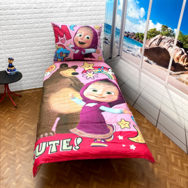 Masha and the Bear set of sheets single bed DUVET COVER 140x200cm