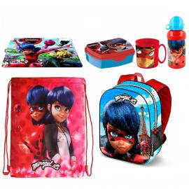 Ladybug Miraculous Set Backpack Satin Backpack, Towel, School Snack Box
