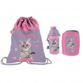 Cats Happy Set Bag Bag Backpack Flat Box Lunch Box Bottle 500ml