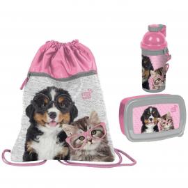 Dog Cats Happy Set Bag Bag Backpack Flat Box Lunch Box Bottle 500ml