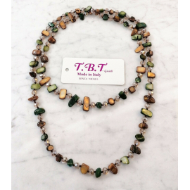 Long Pearl Necklace Hard stones, crystal beads Women