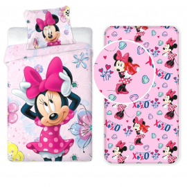 Disney Minnie Mouse 3 Pieces Set Single Bed Duvet Cover, Pillowcase + Sheets under