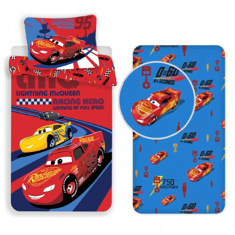 Disney Cars Red 3 Pieces Set Single Bed Duvet Cover, Pillowcase + Sheets under