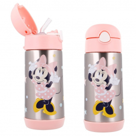 Disney Minnie Mouse Thermal Bottle in Steel 360 ml with Drinking Straw Children