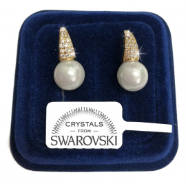 Pearl Pendant Light Point Earrings pl 18K White Gold with Swarovski Crystals