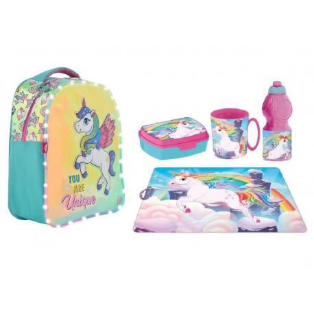 3D Backpack Unicorn Magic Backpack Set, Sports Bag, Kindergarten School Snack Box